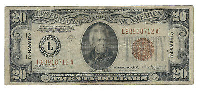 1934A $20 Hawaii Ww2 Emergency Note, Fr2305, Fine