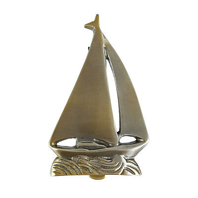 Zeckos Solid Brass Sailboat Door Knocker Nautical