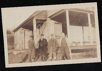 Old Antique Vintage Photograph Four Cool Looking Men in Front of Country Cabin