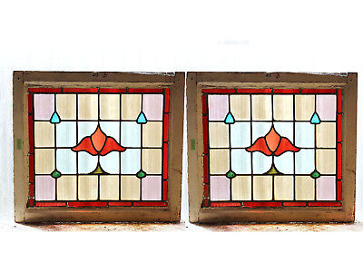 Large Pair of Antique Stained Glass Windows Eight Color Nouveau Tulips (3057)