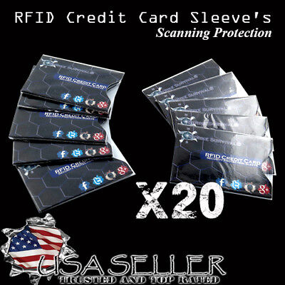 20x RFID Blocking ID Secure Credit Card Protector Sleeve holder
