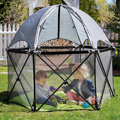 Pop N Play Portable Playard Full Coverage Canopy Baby Pet Outdoor Pen Sun Child