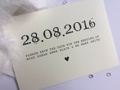 Save The Date PERSONALISED Postcard style, Pearlised card