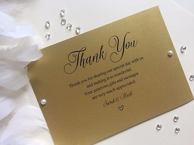 Thank You Cards PERSONALISED Postcard style, Pearlised card