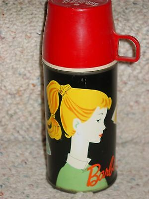 Vintage Baribe 1962 Mattel Black Thermos With Red Cap