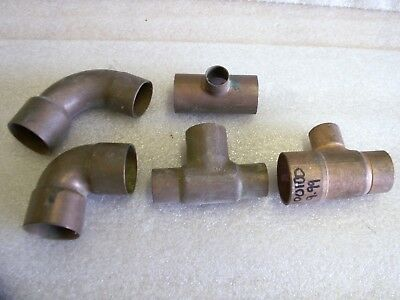"Mixed Lot of 5 Copper Fitting Reducer Tee Elbow 1 1/2"" X 1""  & 1"" x 3/4"" (CU14)"