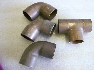 "Mixed Lot of 4 Copper Fittings 3 Elbow 1 Tee 1 1/2"" x 1 1/2"" Sweat      (CU15)"