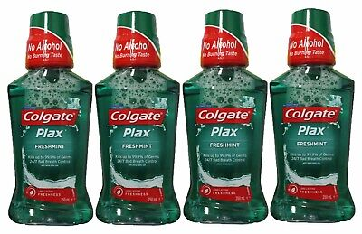 4 x COLGATE 250mL PLAX MOUTHWASH ALCOHOL FREE FRESHMINT - ALL NEW