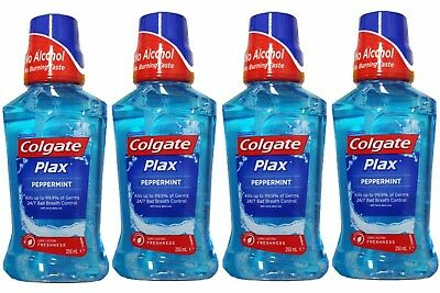 4 x COLGATE 250mL PLAX MOUTHWASH ALCOHOL FREE PEPPERMINT - ALL NEW
