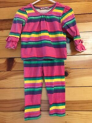 *JELLY THE PUG* Girls 2 Piece Striped Telluride Britany Top Ashley Leggings 12 M