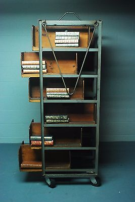 Rare Antique Vtg Industrial Two-Sided Iron Wood Library Cart Book Case