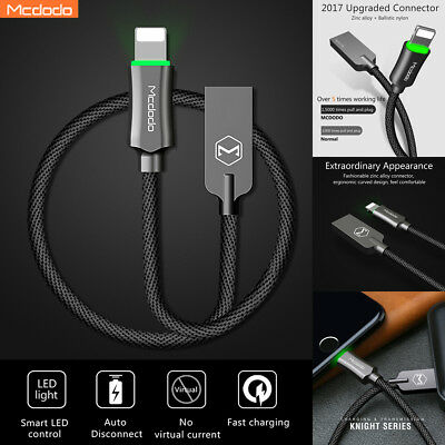 MCDODO LED Auto Disconnect Lightning Data USB Charging Cable F iPhone X 8 7 Plus