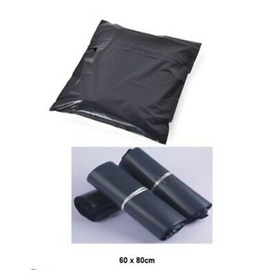 1 x 25 Pk BLACK Plastic Waterproof Courier Postage Mail Bags 60 x 80 cm Sealable
