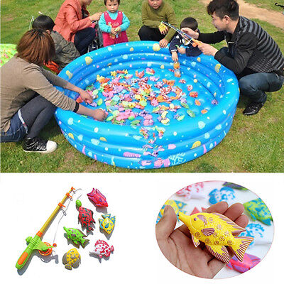 Magnetic Fishing Toy Rod Model Net 6 Fish Kid Baby Bath Time Fun Game  Well