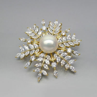 13-14MM White AAA Genuine Freshwater Pearl Brooch Bouquet Pin Yellow Gold Plated
