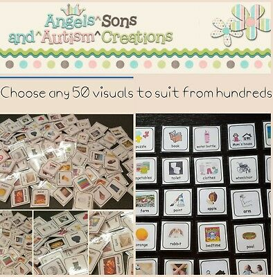 You Choose 50 Visual Cards / Pecs From Hundreds -  Autism / Non Verbal / Sen