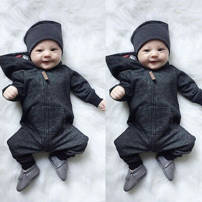 Newborn Infant Baby Boy Girl Kids Romper Jumpsuit Bodysuit Hooded Clothes Outfit