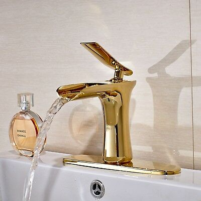 Waterfall Single Handle Basin Vanity Sink Vessel Bathroom Faucet Mixer Tap Gold