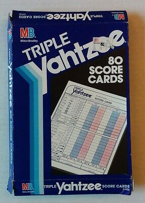 Vintage Triple Yahtzee 80 Score Cards Dice Replacement Game Pads 1991 MB E4100