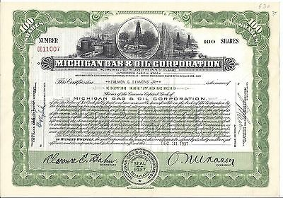 Michigan Gas & Oil Corporation........1937 Common Stock Certificate