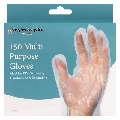 150 x Multi Purpose Transparent Plastic Safety Gloves Disposable Hairdressing UK