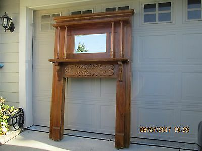 Vintage Pine Wood Fireplace Mantel removed from Old House early 1930's era