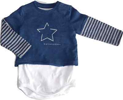 bellybutton  Shirt Body 1/1 Arm Newborn Boy gr. 56 twilight blue melange