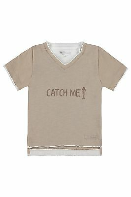 Bellybutton T - Shirt 1/4 Arm gr. 80 Mini Boys Fishbones simply taupe beige