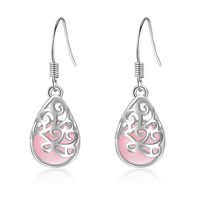 Women Fashion Jewelry 925 Sterling Silver Pink Opal Ear Dangle Hook Earrings