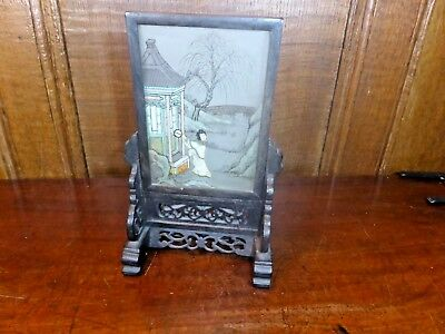 ORIENTAL VINTAGE small HAND PAINTED SCREEN on CARVED WOODEN STAND - 18cms