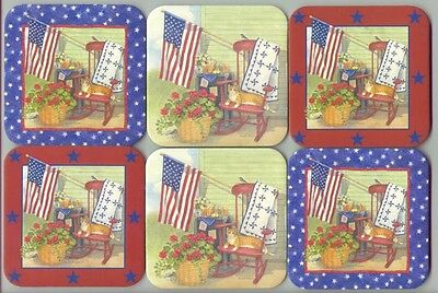 6 Longaberger Basket Coasters American Flag Stars Country Quilt Red Blue Green