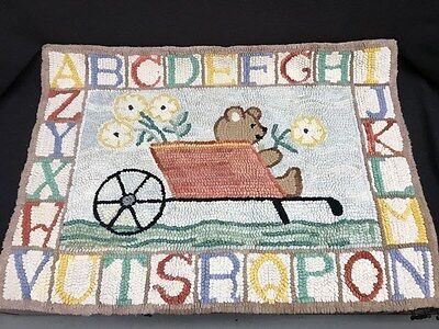 Antique Hooked Rug With Teddy Bear and Alphabet-Great for Baby Gift