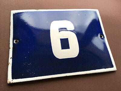 ANTIQUE VINTAGE ENAMEL SIGN PORCELAIN HOUSE NUMBER 6 BLUE DOOR GATE STREET 1950s