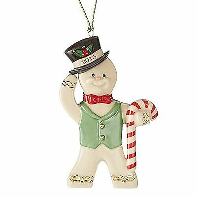 Lenox 2015 Gingerbread Man Ornament Annual Ginger Gent Candy Cane Christmas NEW