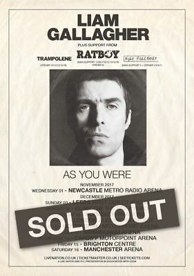 LIAM GALLAGHER As You Were 2017 UK Arena Tour A4 260gsm Poster Print