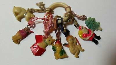 Celluloid Cracker Jack Gumball Charms on Ring Christmas theme