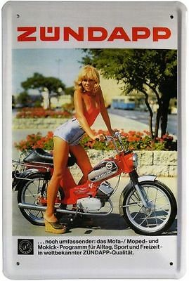 Blechschild 20x30 cm Zündapp Mofa Mokick Moped Pin up Girl Bike Metall Schild