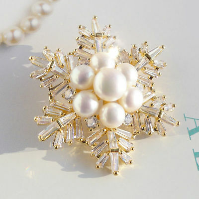 5-7.5mm Genuine White Freshwater Pearl Snowflake Pin Brooch Yellow Gold Plated