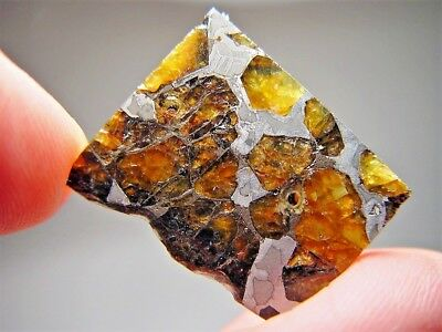 Museum Quality! Amazing Crystals! Beautiful Brahin Pallasite Meteorite 6.9 Gms