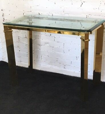 Vintage Mid Century Modern MASTERCRAFT Solid Brass & Glass Console Accent Table
