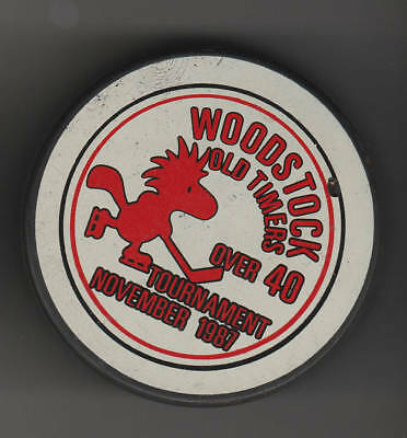 Snoopy's Woodstock Old Timers November 1987 Hockey Puck Red Bird over 40 Charlie