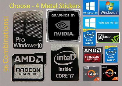4x Windows 10/7 Pro Metal Stickers Intel i7/i5/AMD RYZEN/Radeon/Nvidia GTX badge