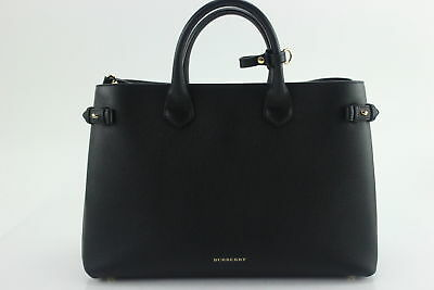 NWT $1,595 Burberry MEDIUM Banner House Check Leather Tote Shoulder Bag