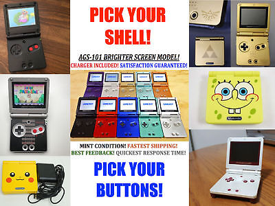 Nintendo Game Boy Advance GBA SP System AGS 101 Brighter Pick Shell & Buttons!