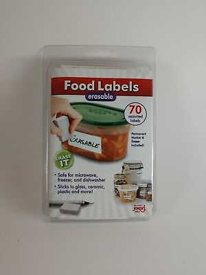 Jokari Label Erasable Food Labels with Markers, 70 Assorted Labels New