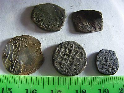 Lot of 5 ANTIQUE Ottoman/Muslim Copper Coins,mixed good condition used.(F).