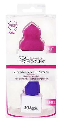 REAL TECHNIQUES 2 X MIRACLE SPONGES Beauty Blender & Stands SCULPT PERFECT Vegan