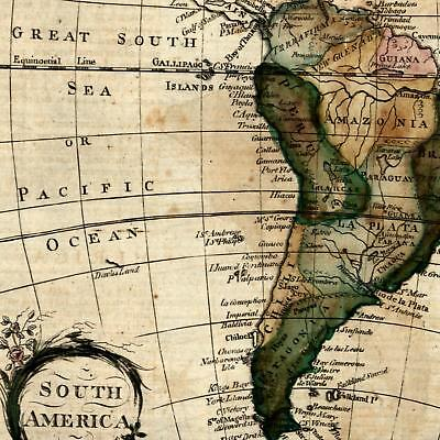 South America 1793 Amos Doolittle rare charming small old hand colored map