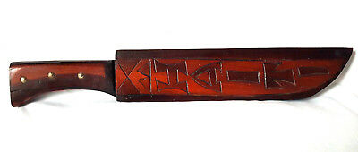 Vintage Haiti Hand Carved Wooden Machete Sword With Wooden Sheath Knife Wall Art