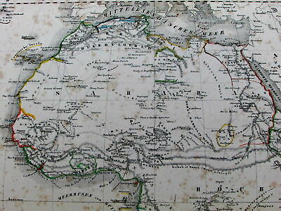 Africa fictitious Mts. of Moon Colonial colonies 1844 Flemming old German map